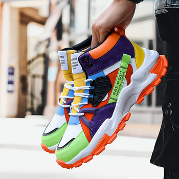 Autumn Fashion Men Sneakers High Top Yellow Bottom Men Casual Shoes Colorful Splicing Leather Mens Designer Shoes zapatos hombre fashion colorful platform men casual shoes breathable men designer shoes hip hop luxury brand couple sneakers men zapatos hombre