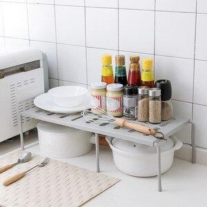Adjustable Kitchen Storage Rack Cupboard Storage Shelf Single Layer Kitchen Organizer Wardrobe Shoe Organizer Saving Space