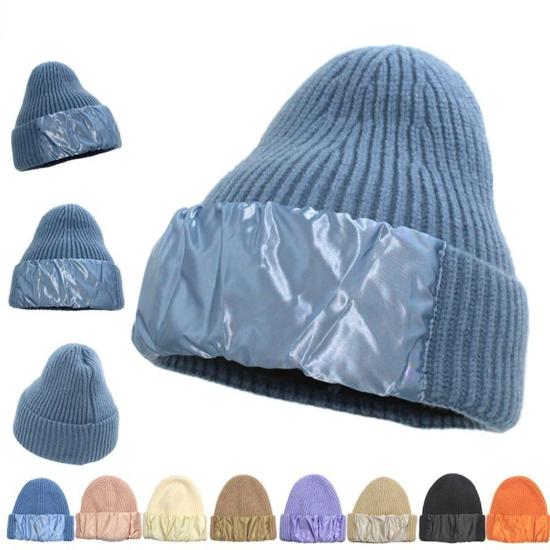 New Fashion Patchwork Winter Warm Knitted Hats Women Men  Casual Soft Beanies Bonnet Hip Hop Ski Cap