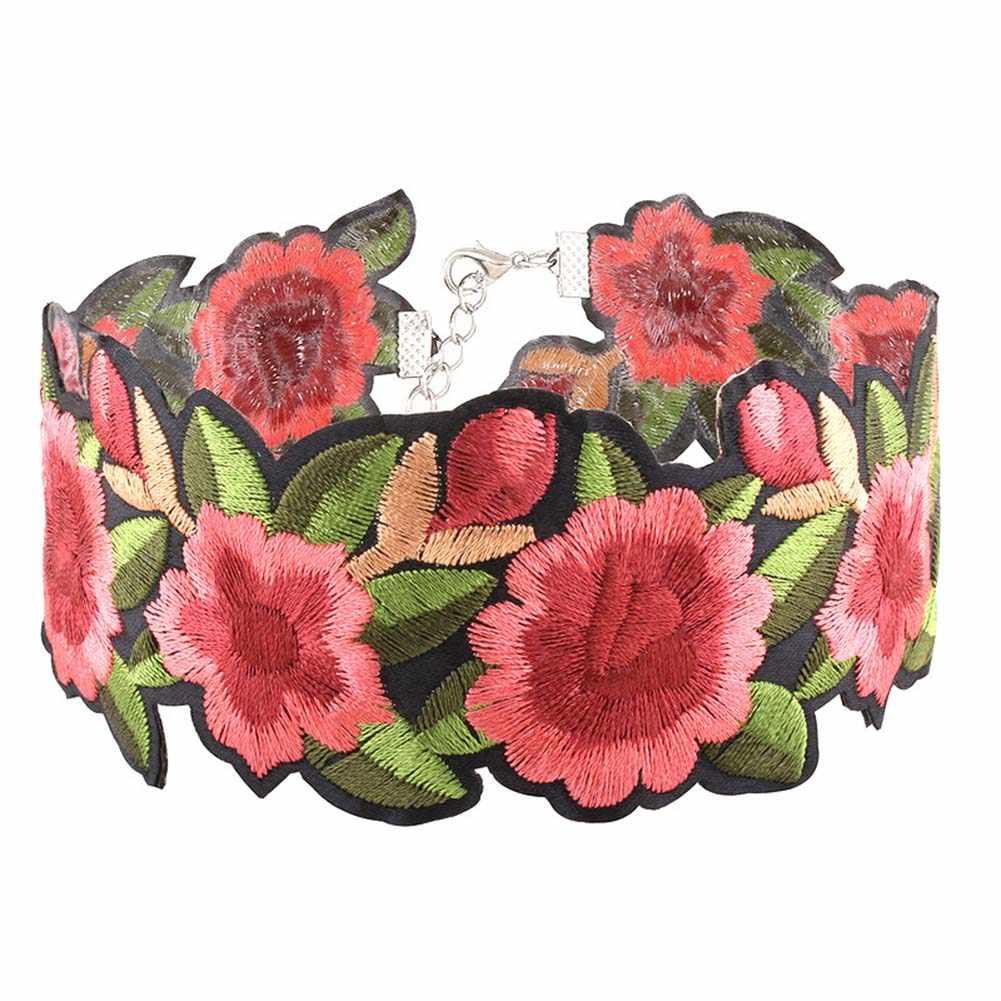 Haft z czerwonym kwiatem Choker naszyjnik dla kobiet moda Steampunk naszyjniki tatuaż biżuteria kołnierz