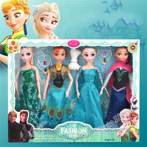New 31cm Toys Princess Anna& Elsa Doll Girls 12 Movable Joints Birthday Gifts Cute Girls Pelucia Boneca Juguetes Titto Gift Set(China)