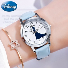 Disney Princess Series Girls Fashion Trendy Japan Quartz Watch Cute Leather Band Waterproof Watches Girl Best Gift Child Clocks