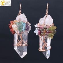 CSJA натуральный белый кристалл большой подвесной Рейки Чакра Древо жизни розовое золото цвет ручной работы провода завернутый кулон для ожерелья F517