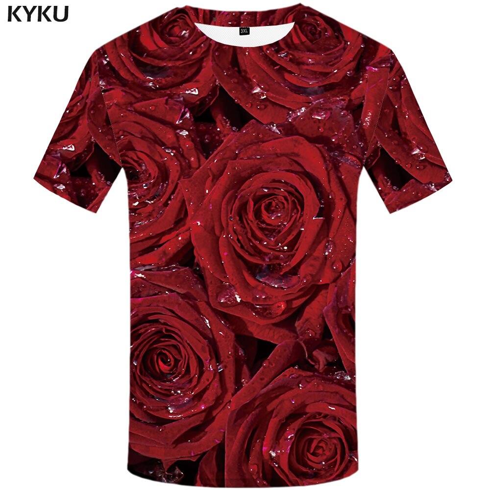 3d Tshirt Rose T-shirt Men Flower Tshirt Printed Red Anime Clothes Love Funny T Shirts Harajuku Tshirts Casual Short Sleeve