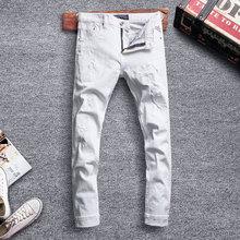 Fashion Streetwear Men Jeans White Color Slim Fit Destroyed Ripped Night Club Punk Pants Designer Hip Hop Homme