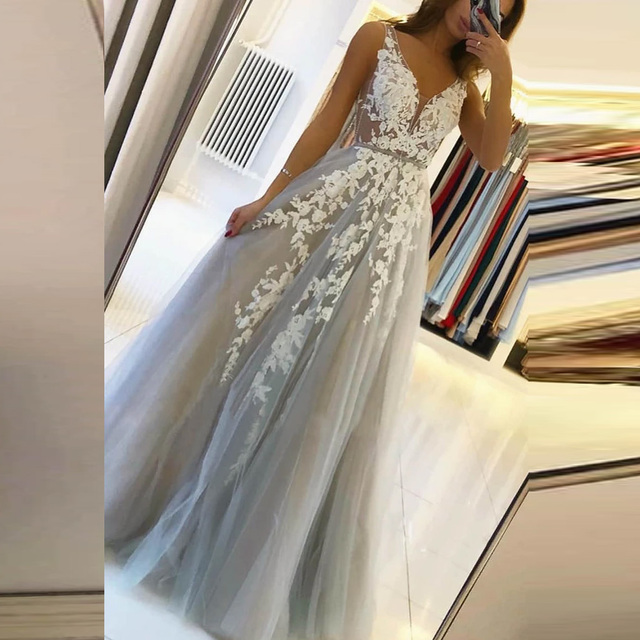 BEPEITHY V Neck Long Prom Dresses 2021 For Women Sexy Gray Summer Backless White Lace Dubai Evening Party Gown New 3