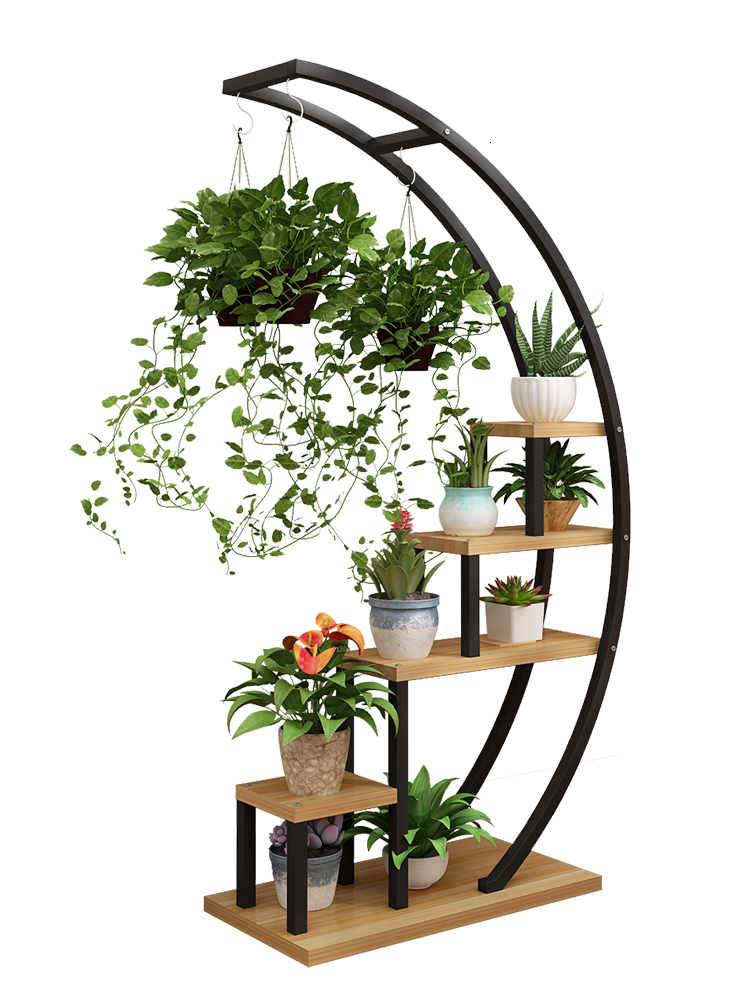 Airs Multi-storey Indoor Television Background Wall Decorate Shelf A Living Room Balcony Green Luo Flowerpot Frame Trapezoid