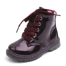 Buy COZULMA Kids Girls Patent Leather Ankle Boots Children Autumn Shoes Girls Solid Color Lace-Up Work Boots Size 21-30 directly from merchant!