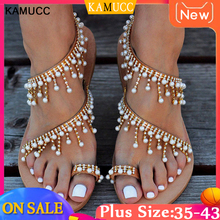 Women Sandals Bling Crystal Summer Shoes Woman Beach Flat