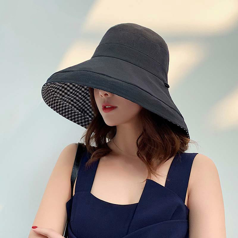 Travel Accessories Two Side Cotton Sun Hat For Women Protection Panama Girls Sunmer Fold Beach Hat Outdoor Sunscreen Bucket Hats