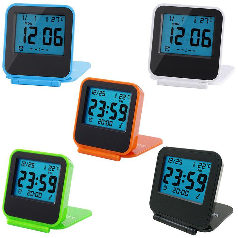 Alarm-Clock Temperature-Calendar Tabletop Digital Kitchen Travel with Date Week