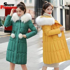 Image 4 -  25 stopni zima kobiety długie kurtki parki Plus rozmiar M 5XL gruby ciepły duża, futrzana kołnierz kobiet Slim sintepon parki znosić płaszcz