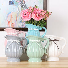 Nordic Vase with handle ceramic vase home decoration ornament flower Vase for home wedding Decoration Single ear vase decoration цена 2017
