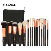 MAANGE 6/8/15pcs Luxurious Makeup Brushes Set Cosmetics Powder Foundation Contour Eyeshadow Make Up Beauty Tool + Leather Case