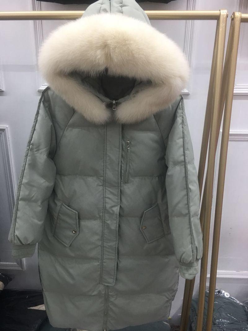 Down Duck Winter Jacket Hooded Long Winter Coat Women Fox Fur Collar Puffer Jacket Overcoat Piumino Donna KJ3234