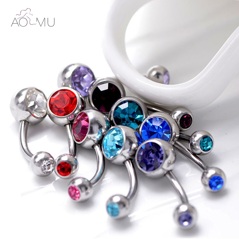 5Pcs/Lot Belly Button Rings Crystal Surgical Steel Body Jewelry Belly Piercing Sex Real Navel Rings Piercing Ombligo Pircing 16G
