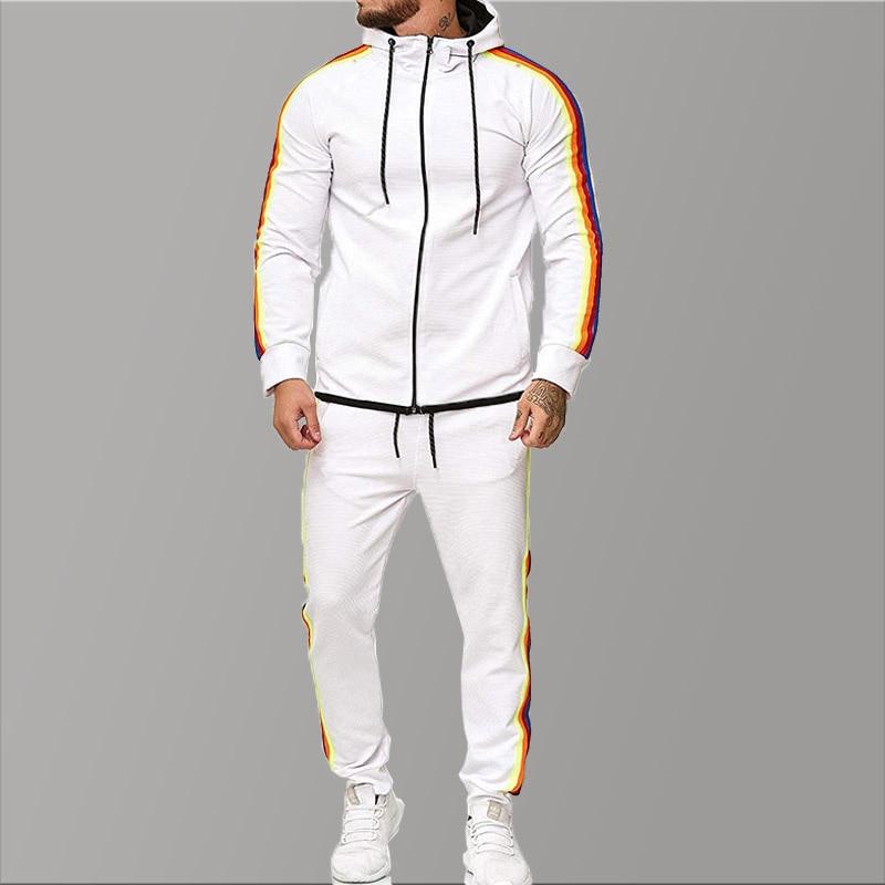 Big Size White Sport Tracksuit Men Stripe Brand Mens Tracksuits Set 2019 Men's Clothing 2 Piece Man Tracksuit Piece Sets Casual