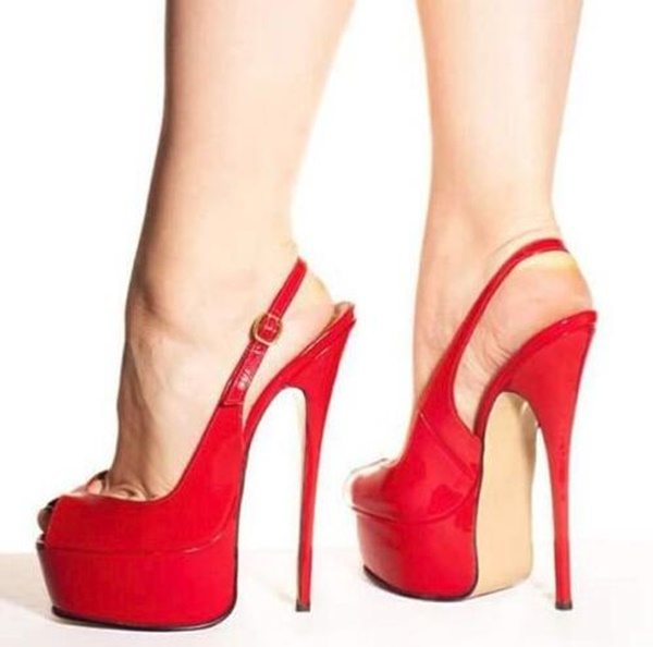 Slingback Stiletto Heels Shoes Peep Toe Platform Backless Ladies Pumps Sexy Red Dress Party Sweet High Heeled Shoes Female in Women 39 s Pumps from Shoes