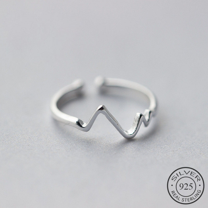 <font><b>Real</b></font> <font><b>925</b></font> Sterling Silver Irregular Geometric Wave Adjustable <font><b>Ring</b></font> Fine Jewelry <font><b>For</b></font> <font><b>Women</b></font> Party Personality Accessories image