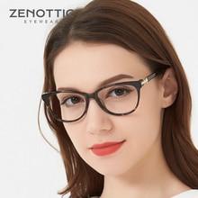 ZENOTTIC Retro asetat kedi göz gözlük çerçeve kadınlar lüks optik miyopi gözlük çerçeveleri şeffaf lens reçete gözlük