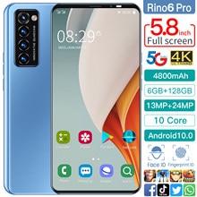 Smartphones Rino6 pro 5.8 Inch 8+256GB 10 Core 4800mAh Andriod 10 Mobile Phone Face ID Cellphones Dual SIM 13+24MP Andriod Phone