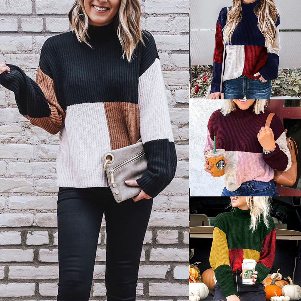 New Women Sweater Autumn And Winter Polyester Casual Color Pullover Sweater Fashion Striped Tops Long Sleeve Sweaters