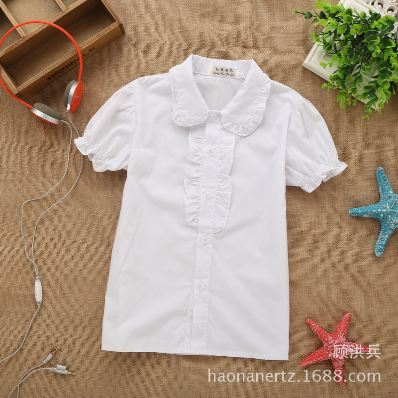 New Style GIRL'S Shirt 2019 Summer Solid Color Korean-style Peter Pan Collar Flounced Short Sleeve Child