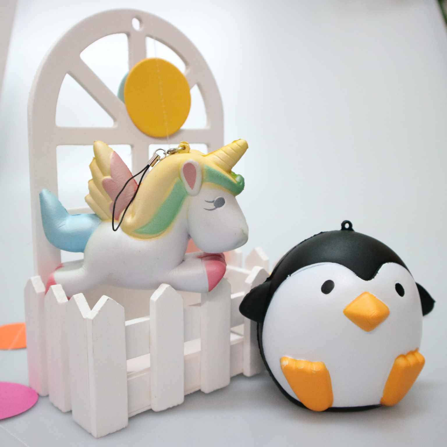 Kawaii Anti-estrés Squishy Mini lindo Pegaso unicornio Panda oso Rana exprimidor lento rebote suave muñeca niños Juguetes regalo