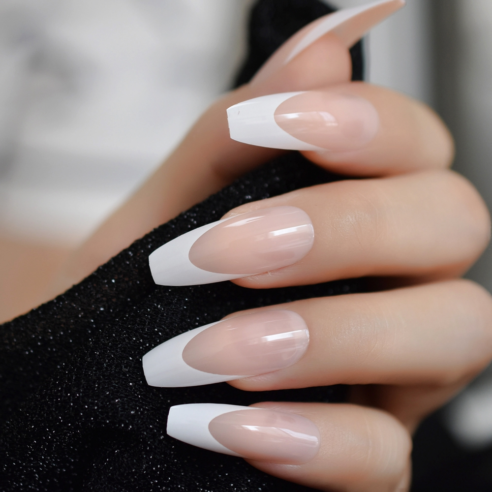 White French Ballerina Fake Nails Natural Nude Coffin Flat False Nail Tips For Salon Party Faux Ongle Free Adhesive Tapes