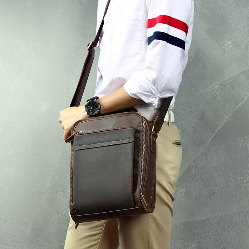 New Men/'s Vintage Genuine Crazy Horse Cow Leather Shoulder Bag Chest Bag Zipper