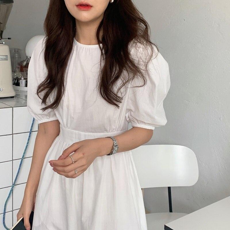 Hc7e5f6b38ab547f58108bf8bccd7aa66V - Summer O-Neck Short Sleeves Elastic-Waist Calf Length Solid Dress