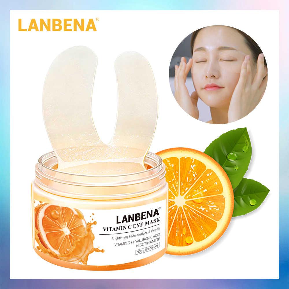 Lanbena Vitamin C Masker Patch Serum Menghapus Tas Garis Mata Meningkatkan Gelap Lingkaran Firming Mencerahkan Mengangkat Perbaikan 50 Pcs