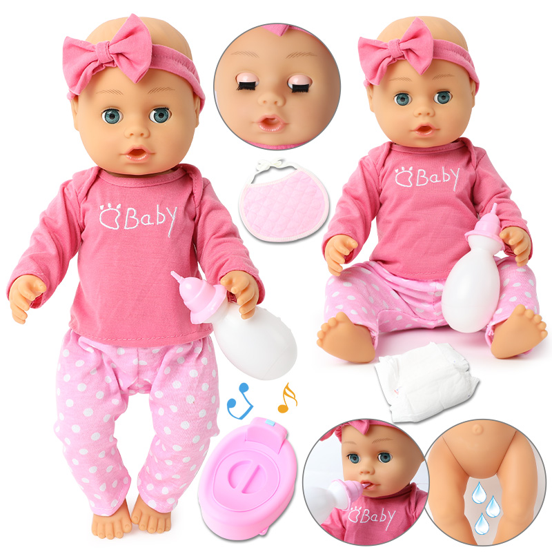 46cm Simulation Bebe Reborn Doll Clothes Drink Water Fashion Long Hair Doll 18 Inch Realistic Soft Silicone Baby Bath Toys Kids