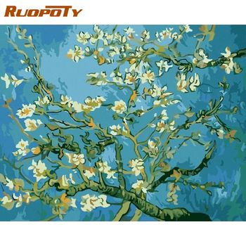 RUOPOTY 60x75cm DIY Painting By Numbers Flowers Famous Picture Acrylic Paint On Canvas Unique Gift For Home Wall Art Decors