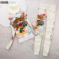 Autumn Winter Print Tracksuits Two Piece Set Women Velvet Slim Hoodies Sweatshirt Tops+Elastic Waist Pants Casual 2 Pieces Suit