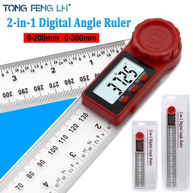 0-200 Mm 0-300 Mm Digitale Meter Hoek Inclinometer Hoek Digitale Heerser Elektron Goniometer Gradenboog Hoekzoeker meten