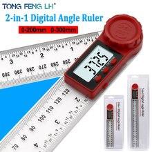 Inclinomètre d'angle numérique 0-200mm 0-300mm, règle numérique d'angle, goniomètre électronique, rapporteur d'angle, outil de mesure