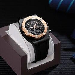 2019 onola marca de luxo moda esportes militar dos homens relógios relógio de pulso metal à prova dwaterproof água multifuncional relógio de quartzo