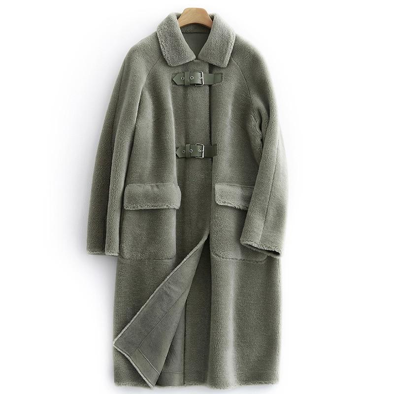 Women Coat Winter Real Fur Coat Female Sheep Shearling Jacket 100% Wool Coats Korean Long Jackets Manteau Femme MY4406 S S