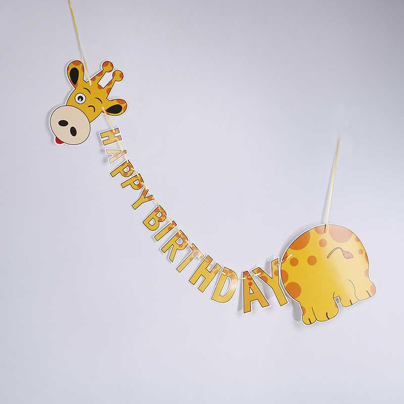 happy birthday giraffe paper banner hanging diy party decor bunting supplies RU