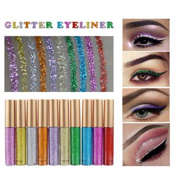 Shimmer Glitter Eyes Liner 10 kolorów wodoodporny Pigment czerwony biały złoty płynny Eyeliner Glitter makijaż wysokiej jakości cekiny TSLM1 tanie i dobre opinie ELECOOL CN (pochodzenie) Łatwe do noszenia Długotrwała Naturalne various Powyżej ośmiu kolorach CHINA Luminous Brokat