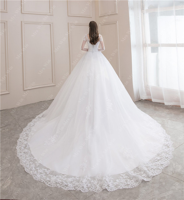 Wedding Dress 2021 New Luxury Full Sleeve Sexy V-neck Bride Dress With Train Ball Gown Princess Classic Wedding Gowns 6