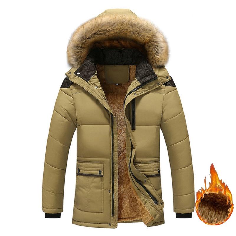 Men fleece thickening hooded fur collar winter jacket and new windproof coat