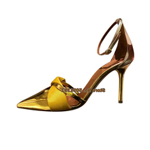 цена на High Heel Stiletto Pointed-Toe Sandals Bowtie Patent Leather Ankle Wrap Butterfly-Knot Pumps Woman Elegant Shallow Shoes Golden