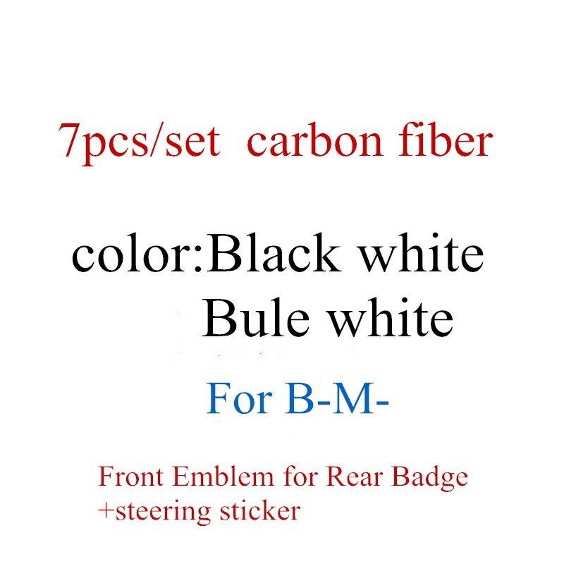 7 шт./компл. углеродное волокно; Цвет черный, белый/синий белый Передняя Эмблема для BMW зеркало заднего вида со значком + 4 ступицы колеса Кепки...