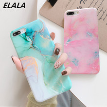 ELALA Glossy Marble Phone Case Funda For iPhone XR Cases New Lovely Candy Color Back Cover 6 S 7 8 Plus X XS Max