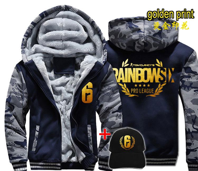 Fashion Rainbow Six Siege Men Women Warm Thick Coat Jacket Autumn Winter Warm Velvet Sweatshirt  Top Hoodies