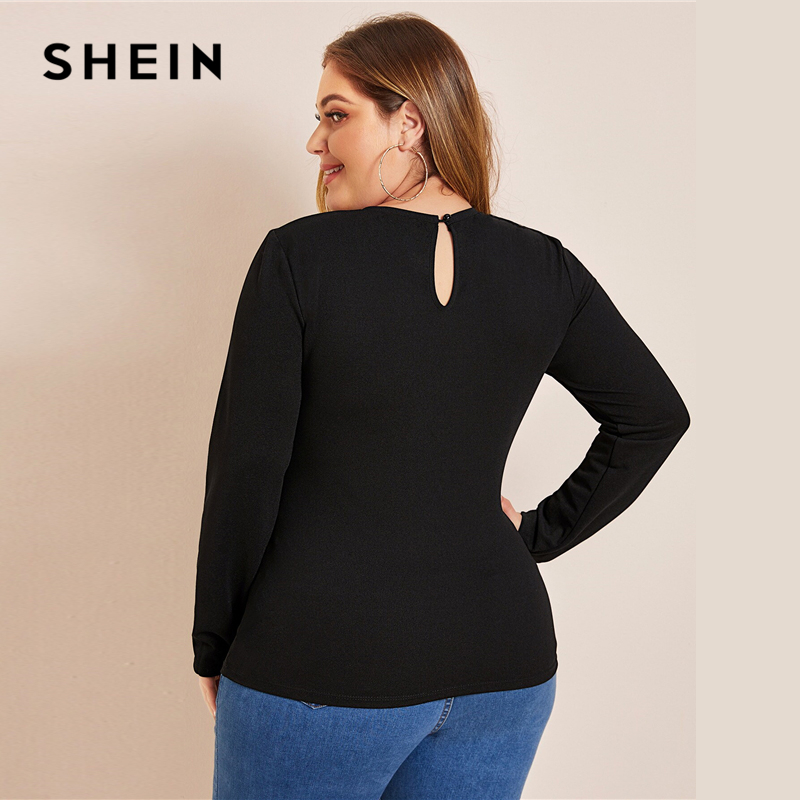 SHEIN Plus Size Black Keyhole Back Laser Cut Front Top Women Autumn Office Lady Slim Fitted Womens Elegant Tops and Blouses 2