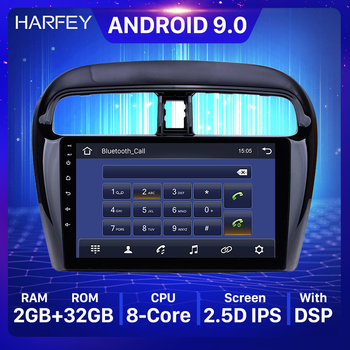 Harfey 9inch Android 9.0 Car Multimedia player for Mitsubishi Mirage 2012-2016 Car Radio GPS support DVR OBD image