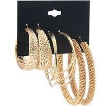 pair of graceful rhinestone circle earrings jewelry for women 3 pair 2019 New Oversized Earrings Set Big Metal Great Wall Hoop Earrings For Women Big Circle Bohemia Brincos Fashion Jewelry